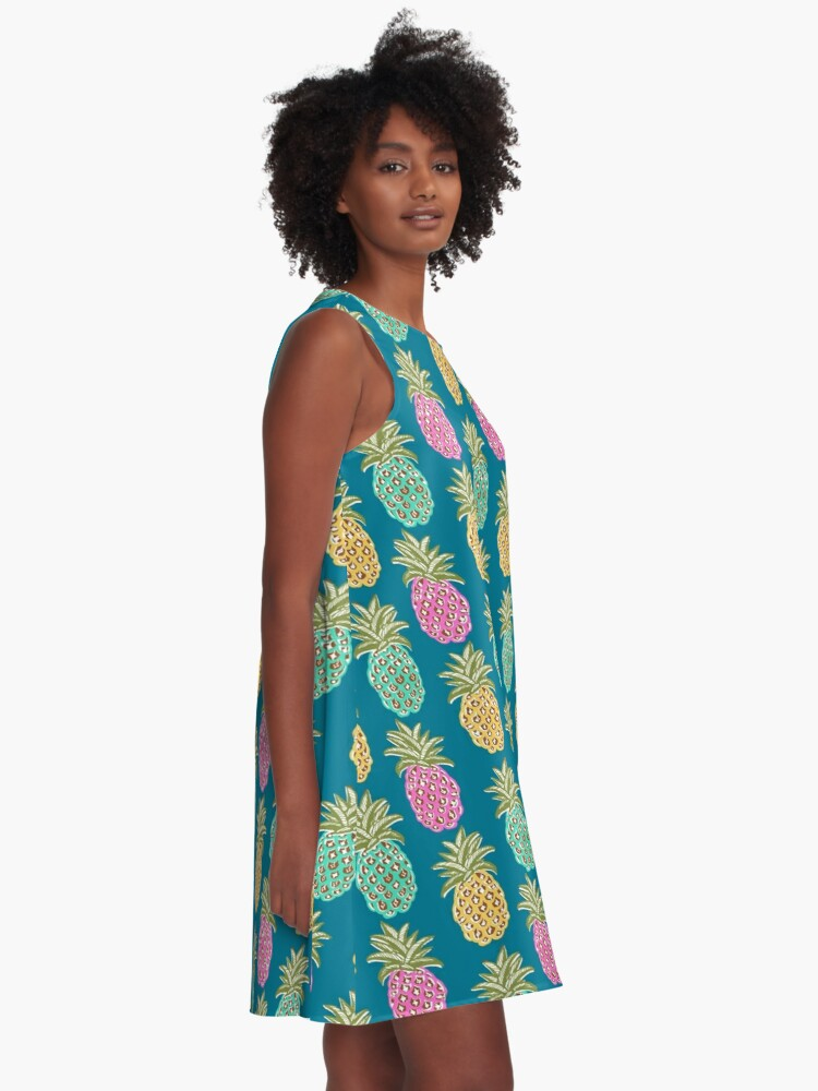 Alternate view of pineapple summer, biscay green, pink and sunrise yellow on mosaic blue  A-Line Dress