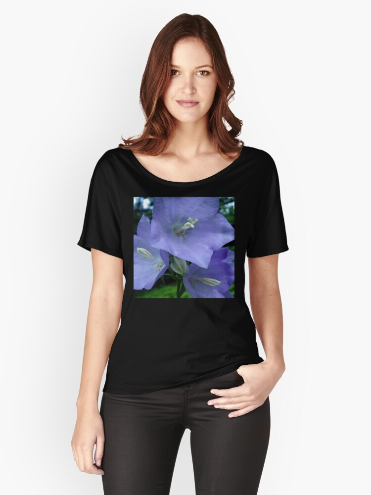 Blue Campanula Macro Women's Relaxed Fit T-Shirt Front
