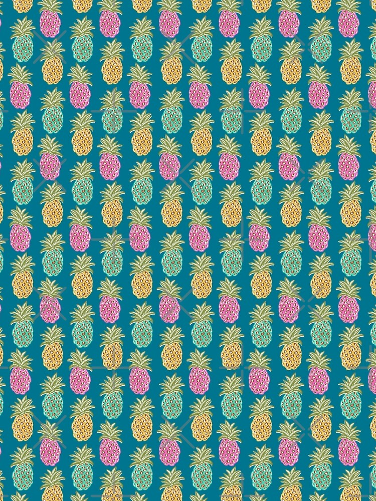 pineapple summer, biscay green, pink and sunrise yellow on mosaic blue  by MagentaRose