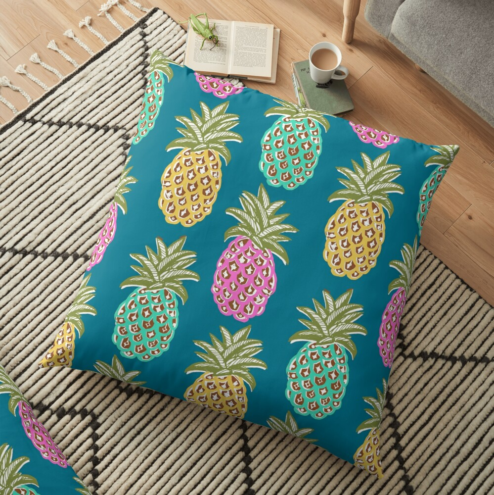 pineapple summer, biscay green, pink and sunrise yellow on mosaic blue  Floor Pillow