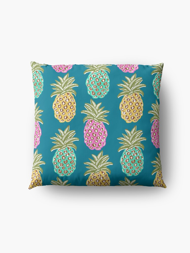 Alternate view of pineapple summer, biscay green, pink and sunrise yellow on mosaic blue  Floor Pillow