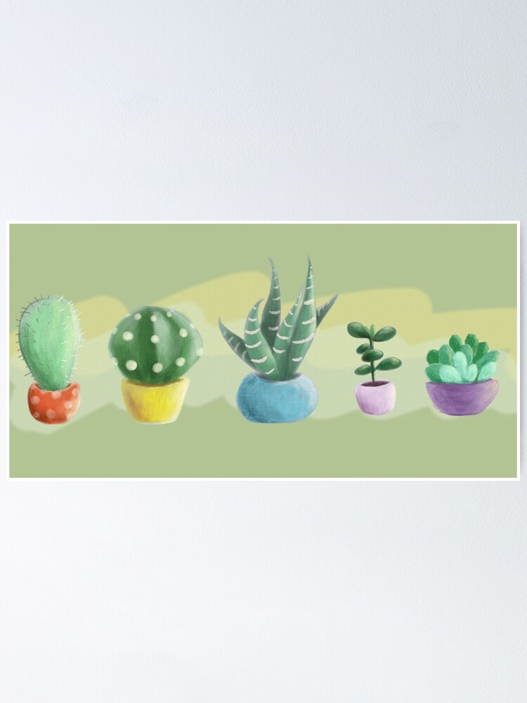 Alternate view of cute cacti Poster