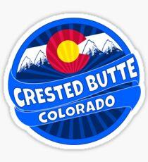 Crested Butte Colorado flag mountain burst Sticker