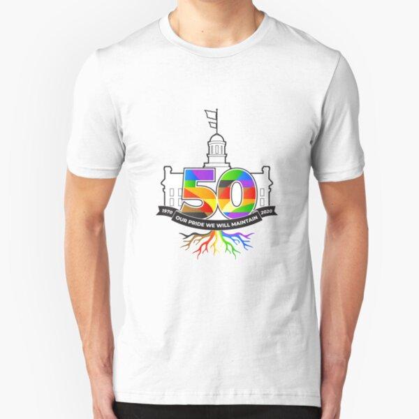 Iowa City 50th Pride logo merchandise Slim Fit T-Shirt