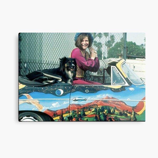 Janis Joplin with a dog in her Porsche Metal Print