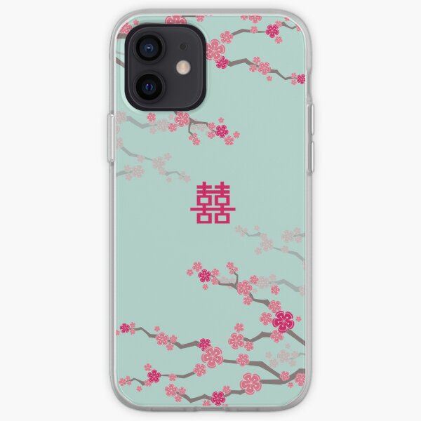 Fuchsia Pink Oriental Cherry Blossoms on Turquoise Blue and Chinese Wedding Double Happiness | Japanese Sakura  iPhone Soft Case