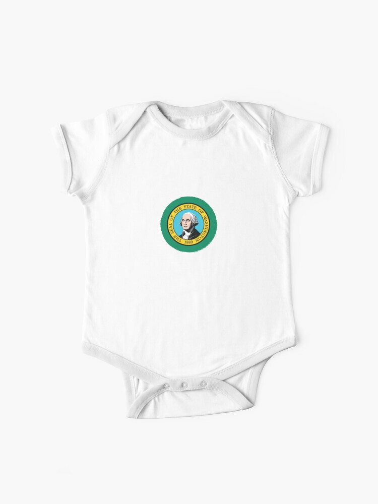 Washington Home Flag Vintage Map Printed Newborn Infant Baby Boy Girl Bodysuit Long Sleeve Romper White
