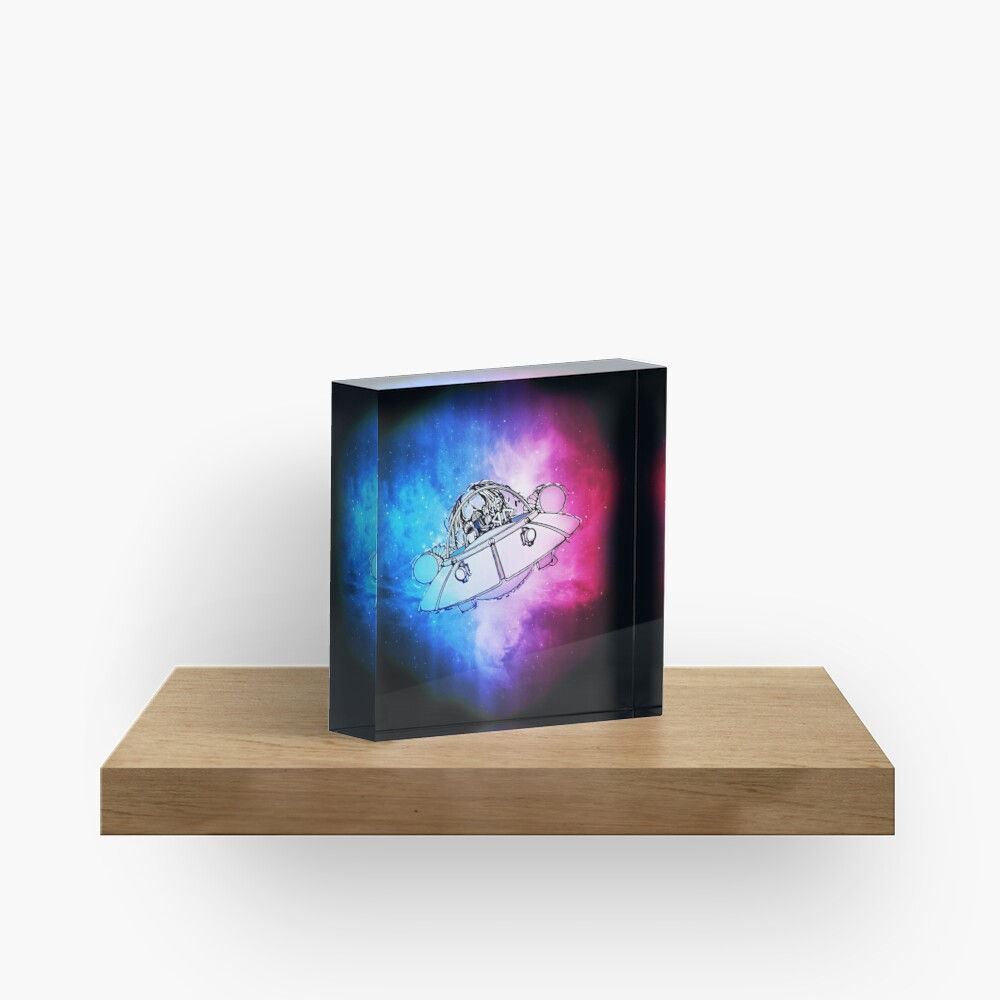 Rick, Morty, and Summer escabing in the space cruiser in space, nebula illustration Acrylic Block