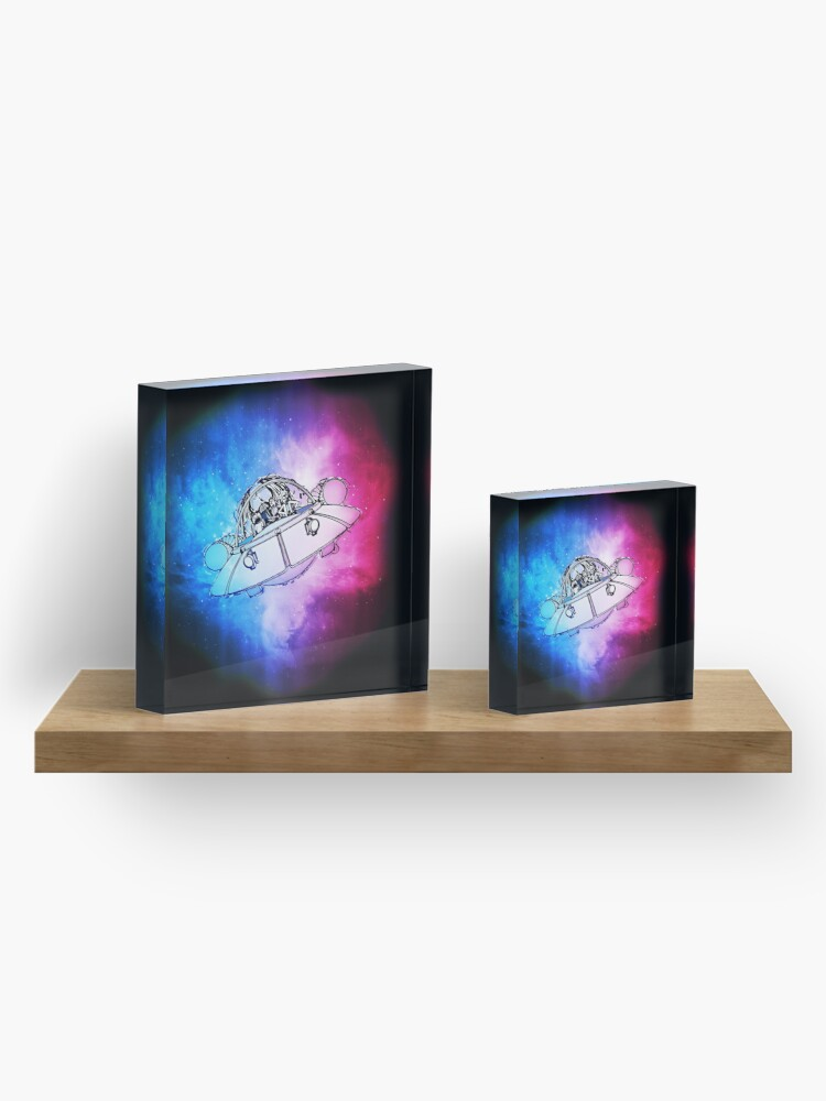 Alternate view of Rick, Morty, and Summer escabing in the space cruiser in space, nebula illustration Acrylic Block