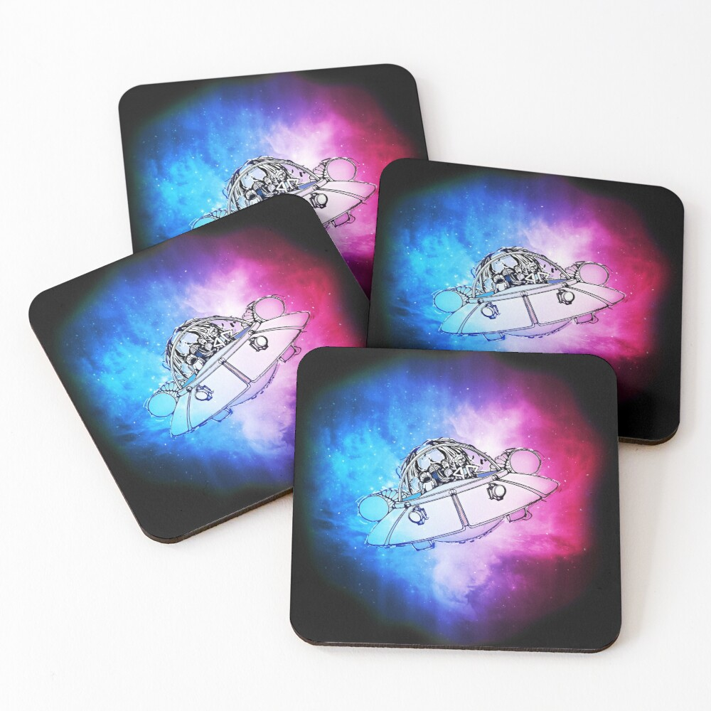 Rick, Morty, and Summer escabing in the space cruiser in space, nebula illustration Coasters (Set of 4)