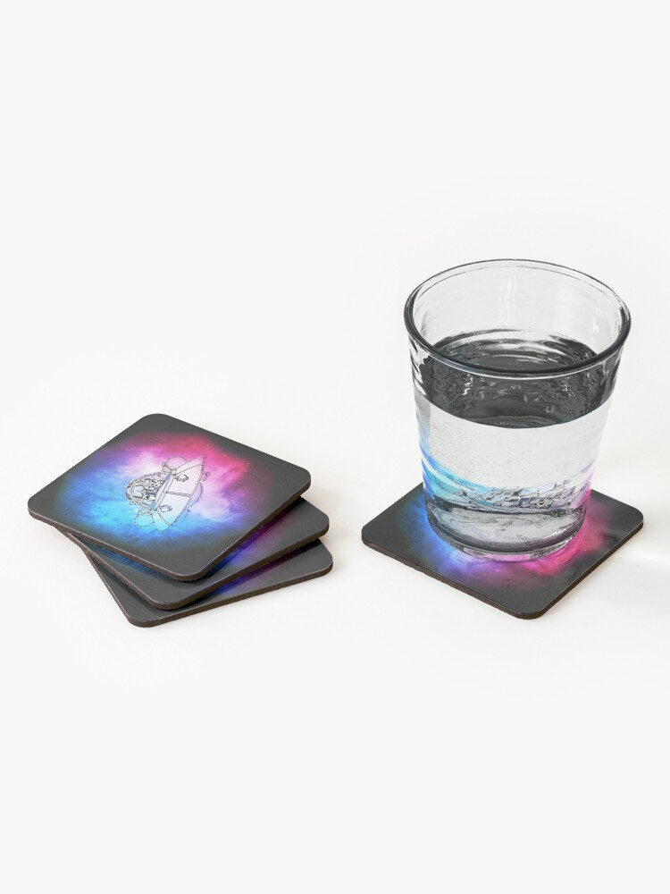Alternate view of Rick, Morty, and Summer escabing in the space cruiser in space, nebula illustration Coasters (Set of 4)