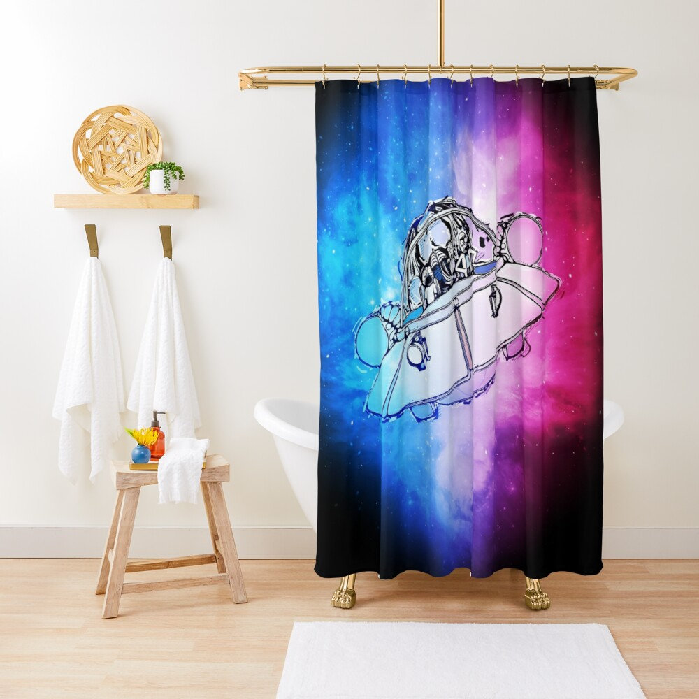 Rick, Morty, and Summer escabing in the space cruiser in space, nebula illustration Shower Curtain