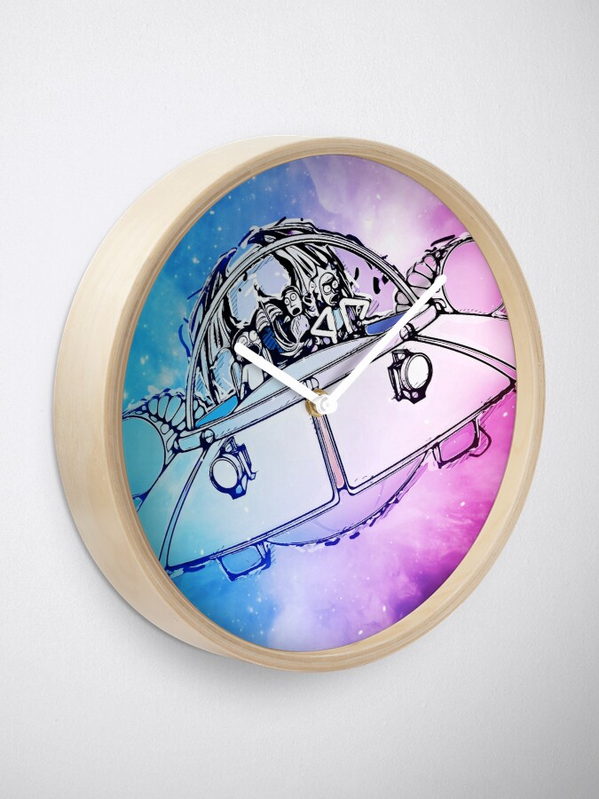 Alternate view of Rick, Morty, and Summer escabing in the space cruiser in space, nebula illustration Clock
