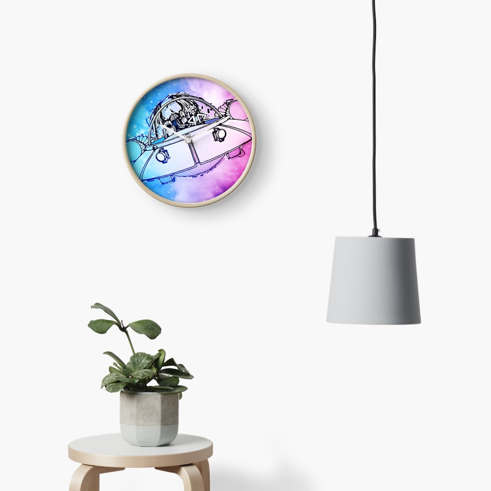 Rick, Morty, and Summer escabing in the space cruiser in space, nebula illustration Clock