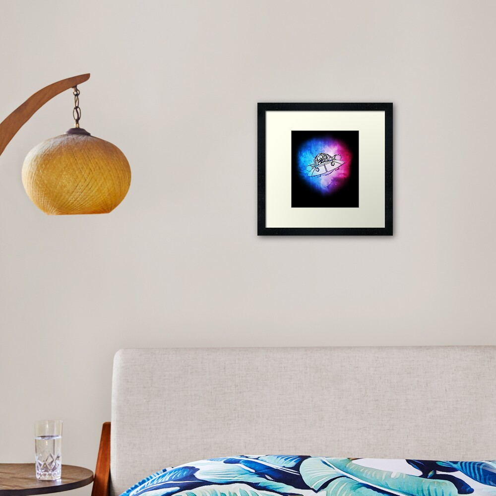 Rick, Morty, and Summer escabing in the space cruiser in space, nebula illustration Framed Art Print