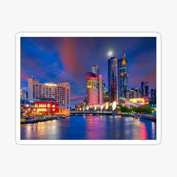 Melbourne Southbank twilight Sticker
