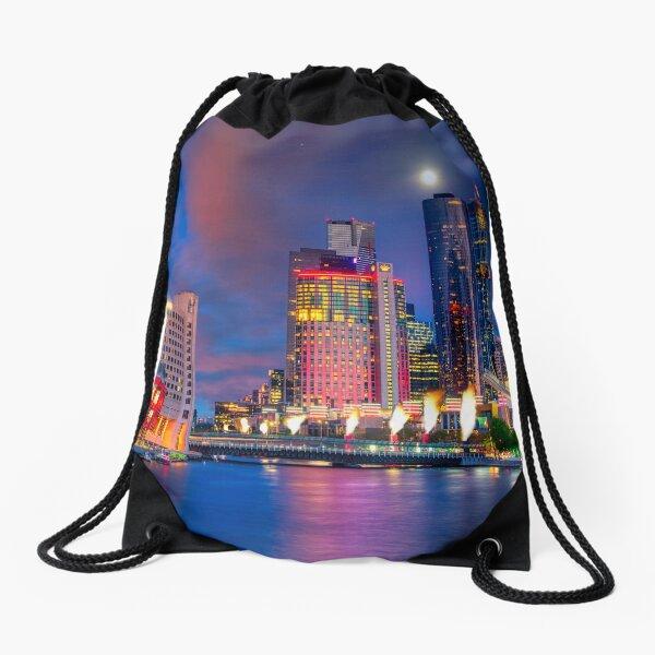 Melbourne Southbank twilight Drawstring Bag