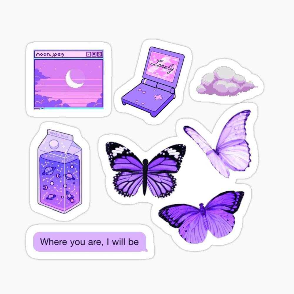 Purple Aesthetic Sticker Set Cute Spiral Notebook By