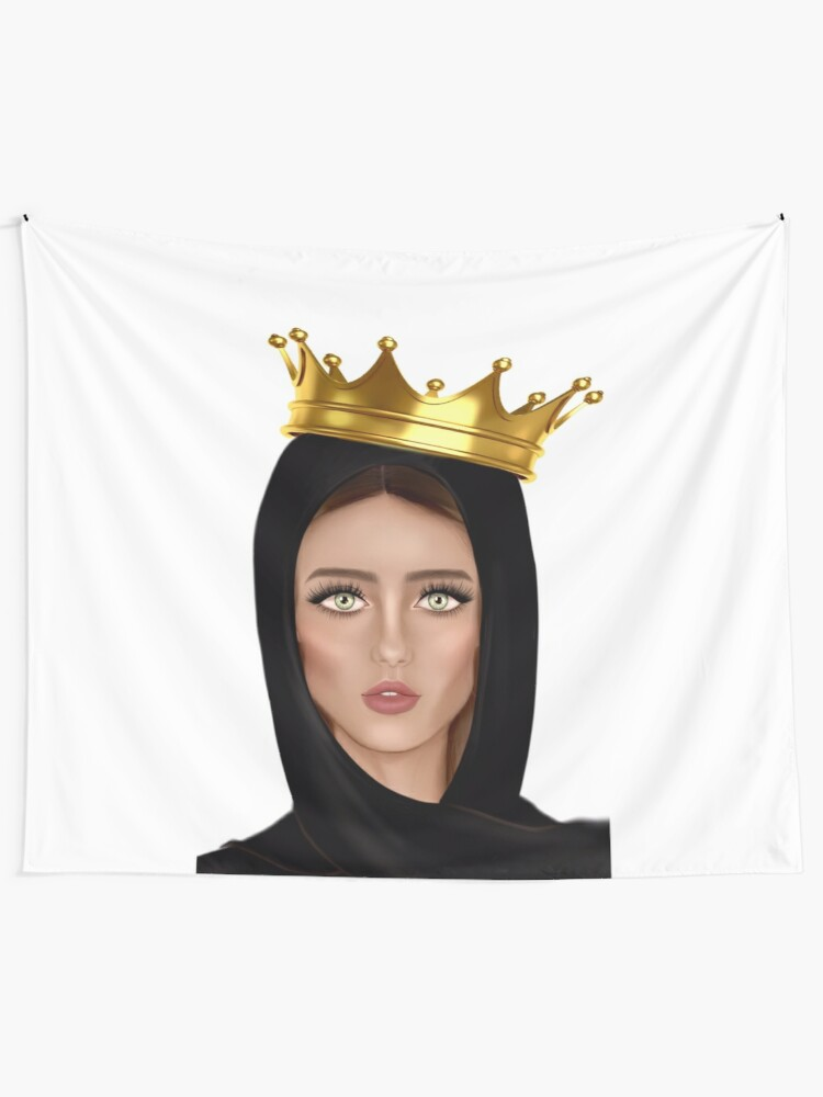 Hijab Queen Wearing A Crown Tapestry By Imanitasong Redbubble German state crown , gold and red crown , brown and red crown illustration png clipart. redbubble