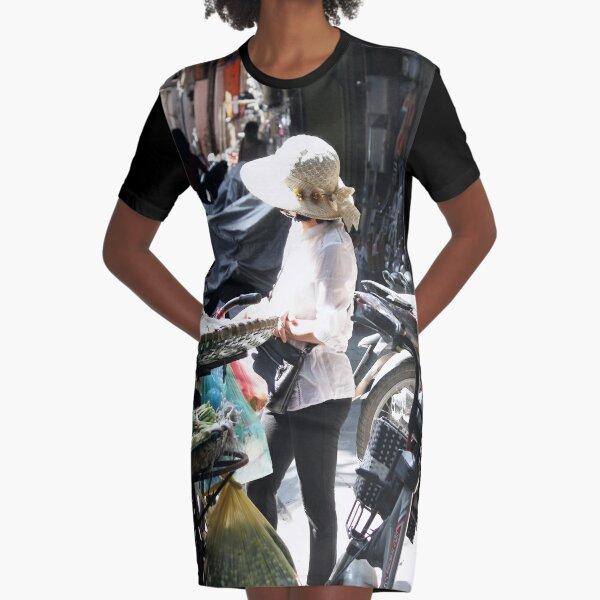 Vietnamese woman street vendor in the morning light Graphic T-Shirt Dress