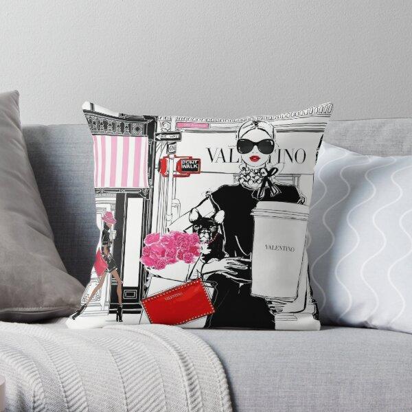 Downtown Latte with V Fashion illustration Print Throw Pillow