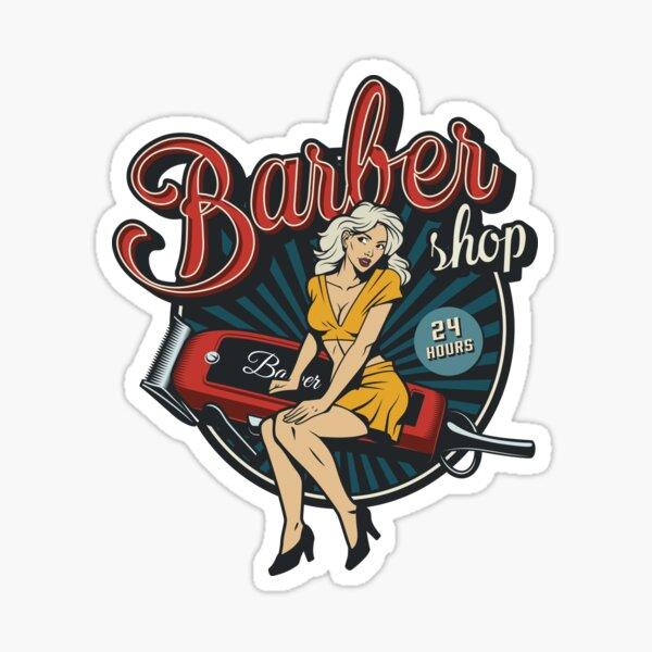 Autocollant vintage - Salon de coiffure Sticker
