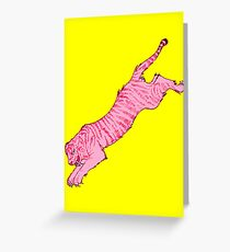Pink Sabre-Toothed Tiger Jump on Yellow Greeting Card