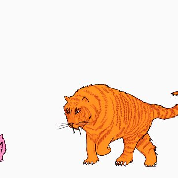 Sabre-Tooth Tiger Stalking a Pink Kitten by joshwedlake