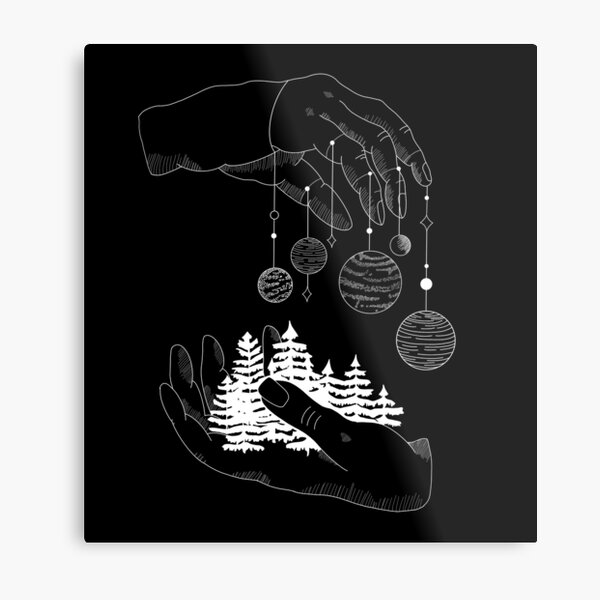 planets hanging from hands white Metal Print