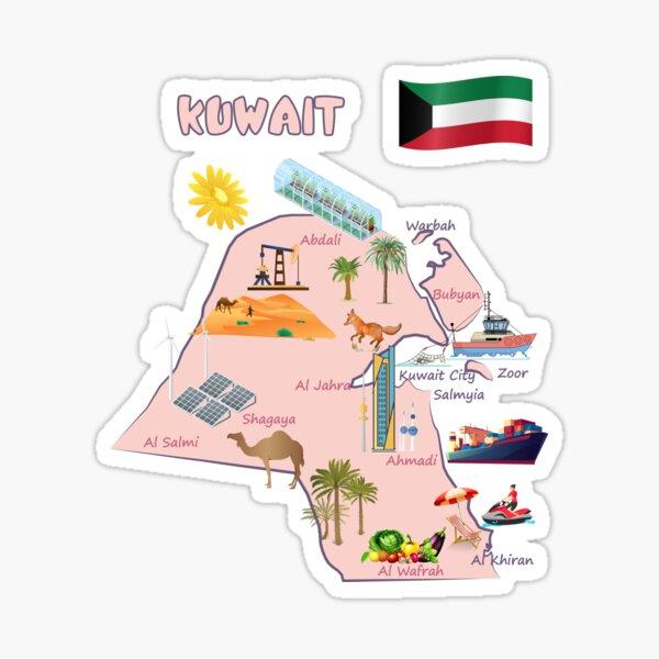 Kuwait map destinations Landmarks tourist attractions with names of the major cities خريطة الكويت السياحية  Sticker