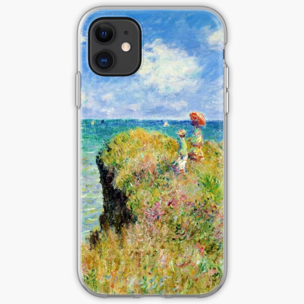 Claude Monet - Walk on the Cliff at Pourville iPhone Soft Case