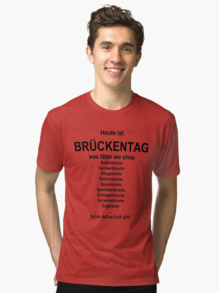 Alternate view of German wordgame for Brückentag Tri-blend T-Shirt