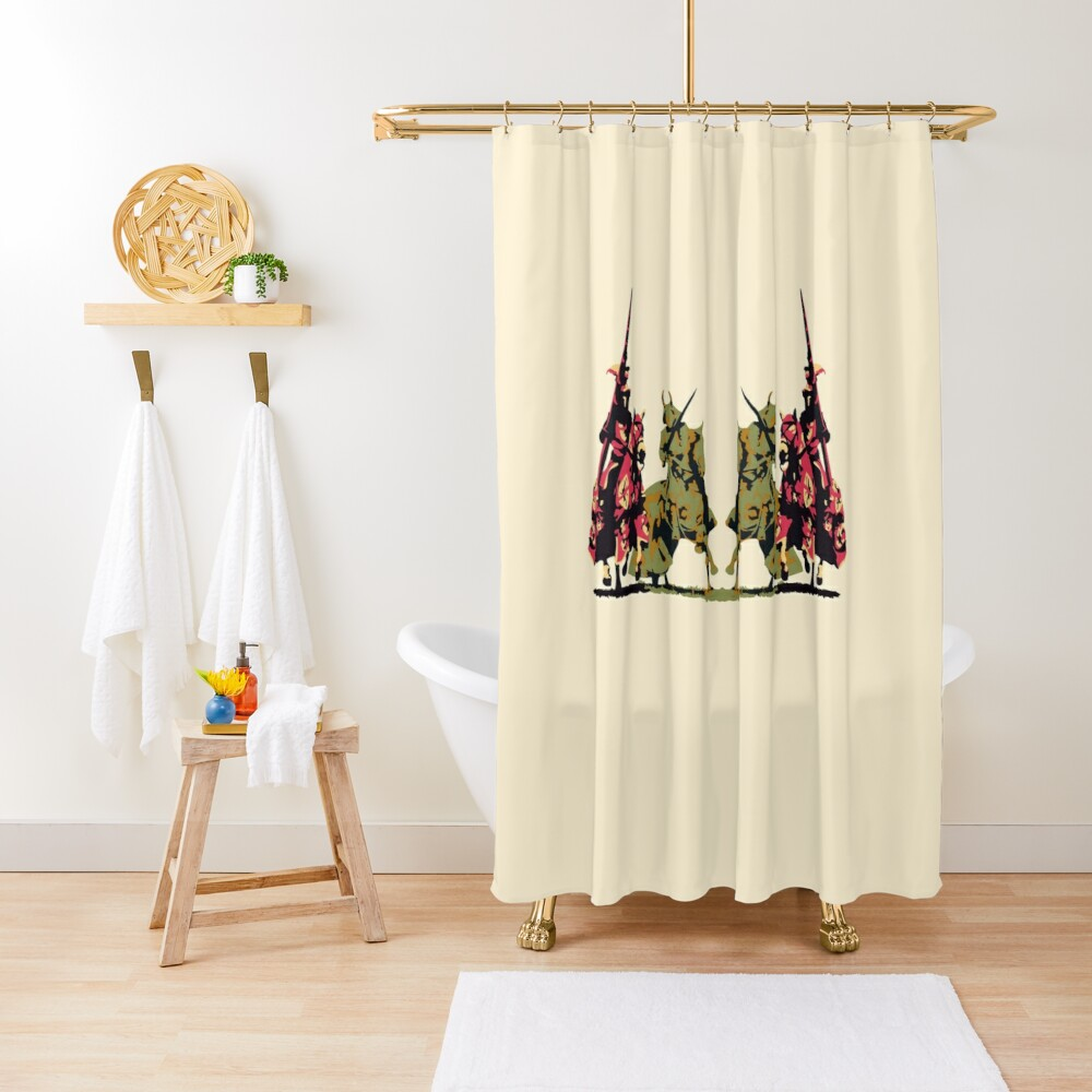 four noble knights on horseback with lance and sword Shower Curtain