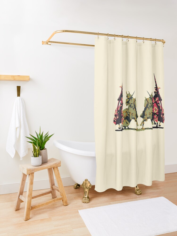 Alternate view of four noble knights on horseback with lance and sword Shower Curtain
