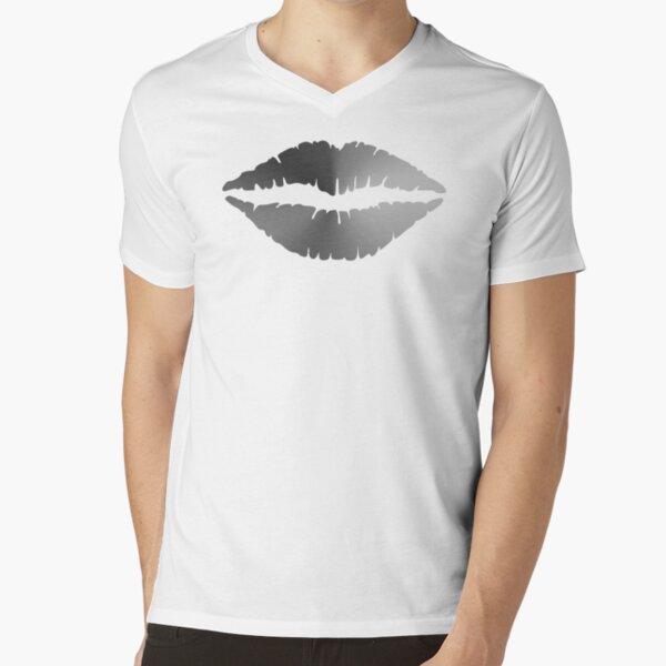 Lips Angle Gradient (Clear/White) NOIR V-Neck T-Shirt