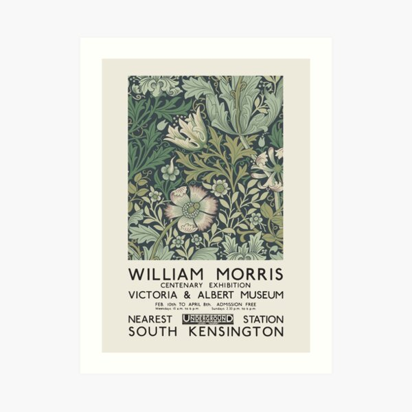 William Morris - Exhibition poster for The Victoria and Albert Museum, London, 1934 Art Print