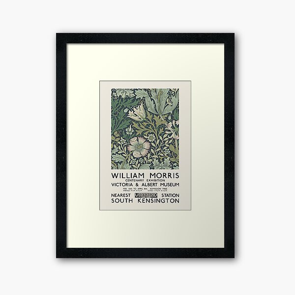 William Morris - Exhibition poster for The Victoria and Albert Museum, London, 1934 Framed Art Print