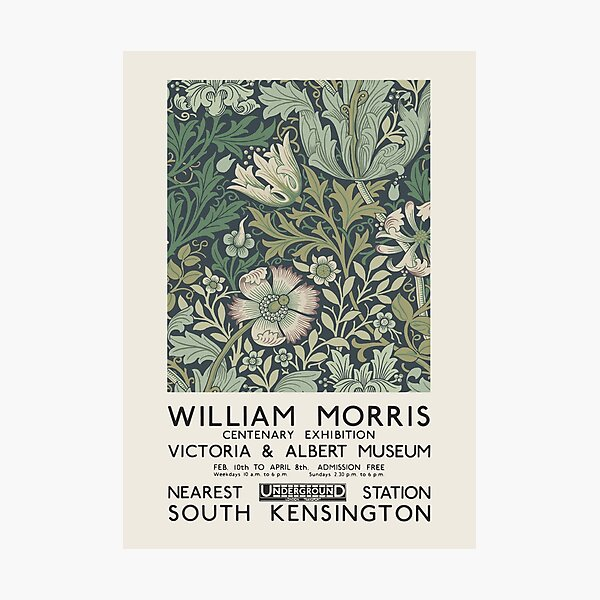 William Morris - Exhibition poster for The Victoria and Albert Museum, London, 1934 Photographic Print