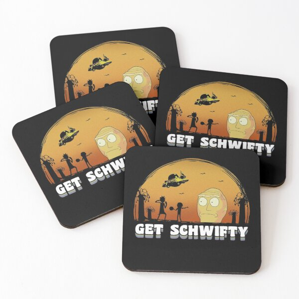 Rick and Morty Get Schwifty Vintage Coasters (Set of 4)
