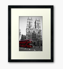 LONDON RED DOUBLE DECKER BUS WESTMINSTER ABBEY Framed Print