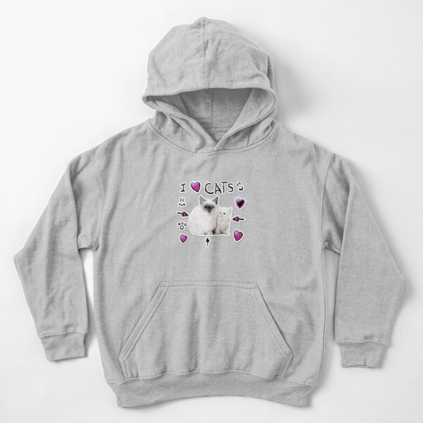 Denis Daily I Love Cats Kids Pullover Hoodie