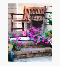 Pink Petunias and Watering Cans Photographic Print