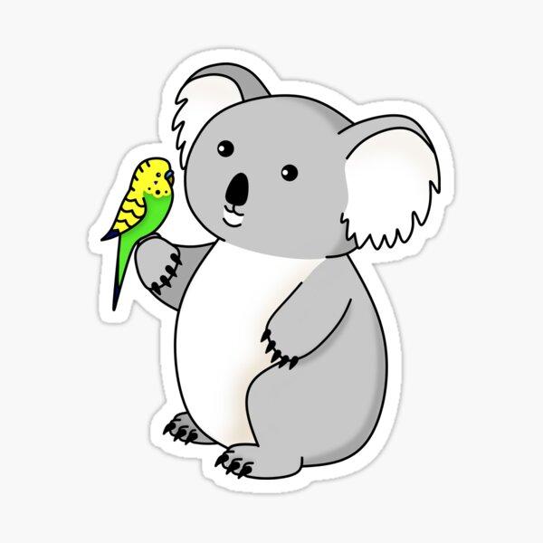 Koala and Green Budgie Sticker