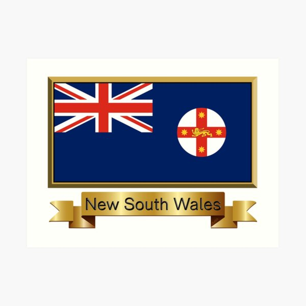 New South Wales Named Flag Stickers, Gifts and Products Art Print