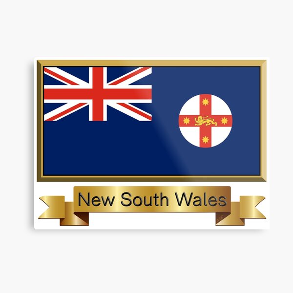 New South Wales Named Flag Stickers, Gifts and Products Metal Print