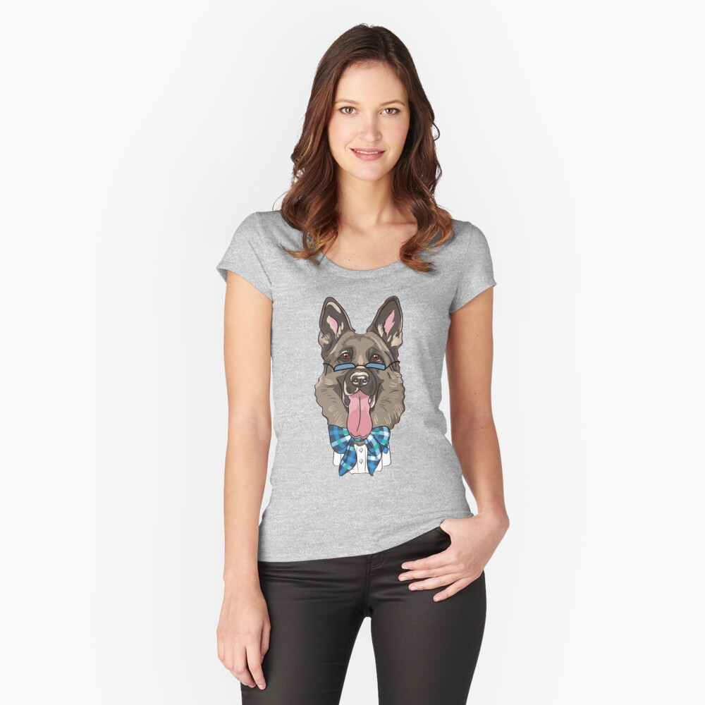 Hip German Shephard Fitted Scoop T-Shirt