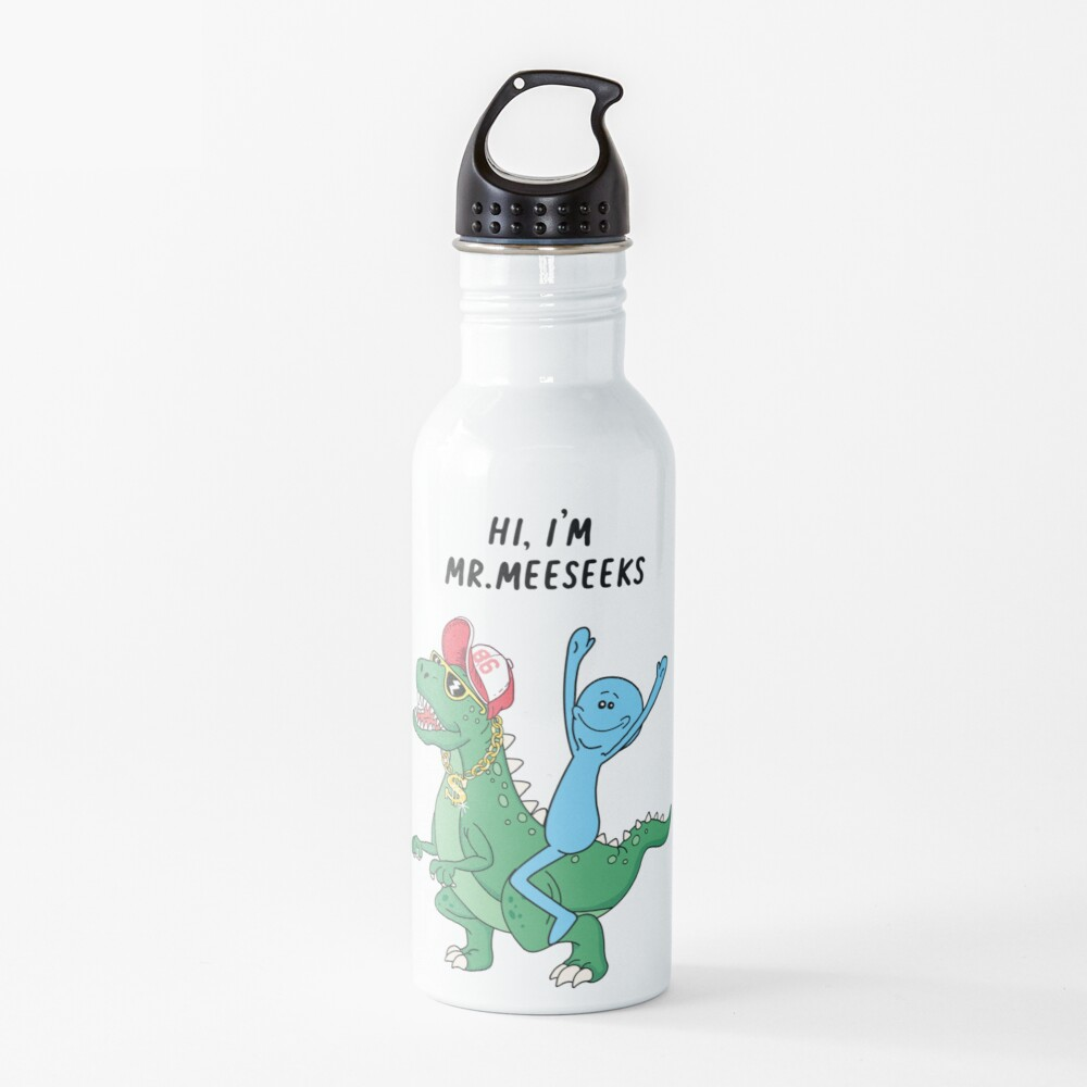 Rick and Morty Mr Meeseeks Riding Dinosaur Water Bottle