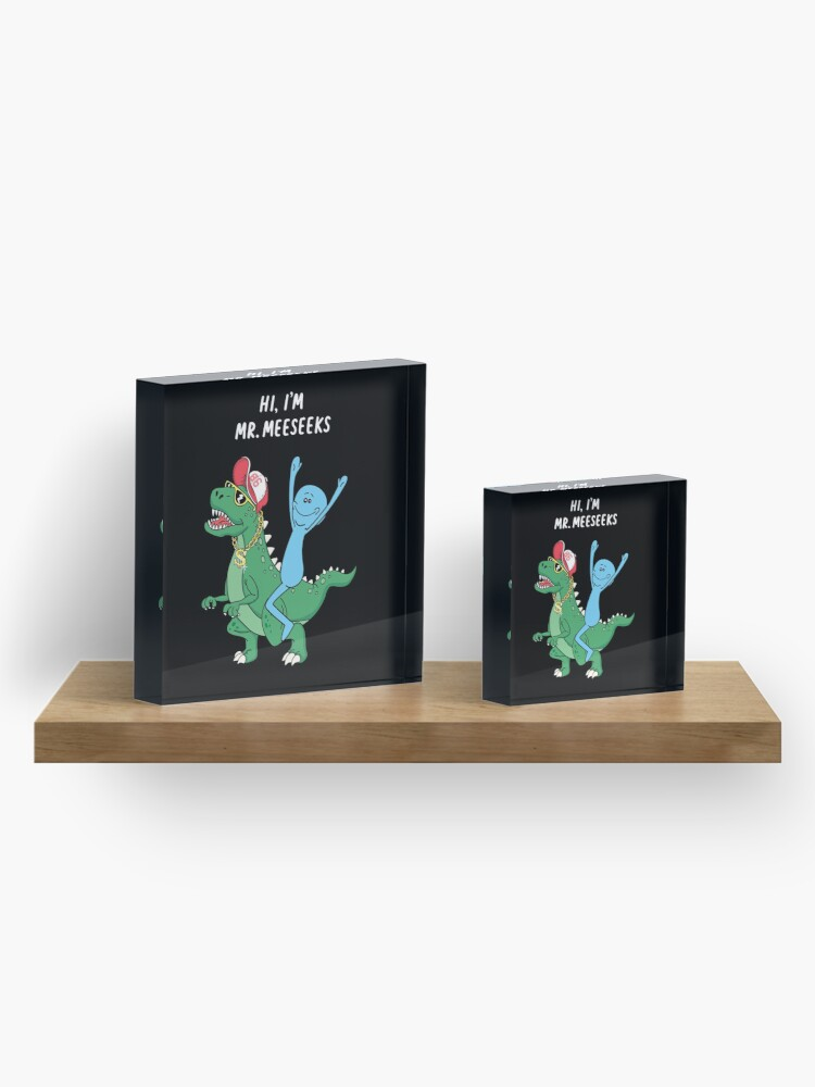 Alternate view of Rick and Morty Mr Meeseeks Riding Dinosaur Acrylic Block