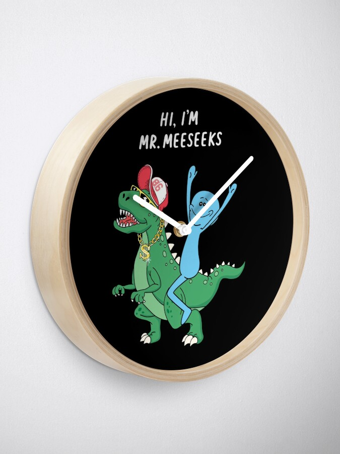 Alternate view of Rick and Morty Mr Meeseeks Riding Dinosaur Clock