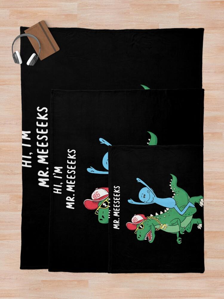Alternate view of Rick and Morty Mr Meeseeks Riding Dinosaur Throw Blanket